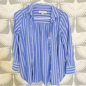 Loft Blue and White Striped Button Down Shirt